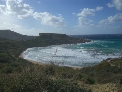 beach at ghajn tuffieha bay island of malta waves