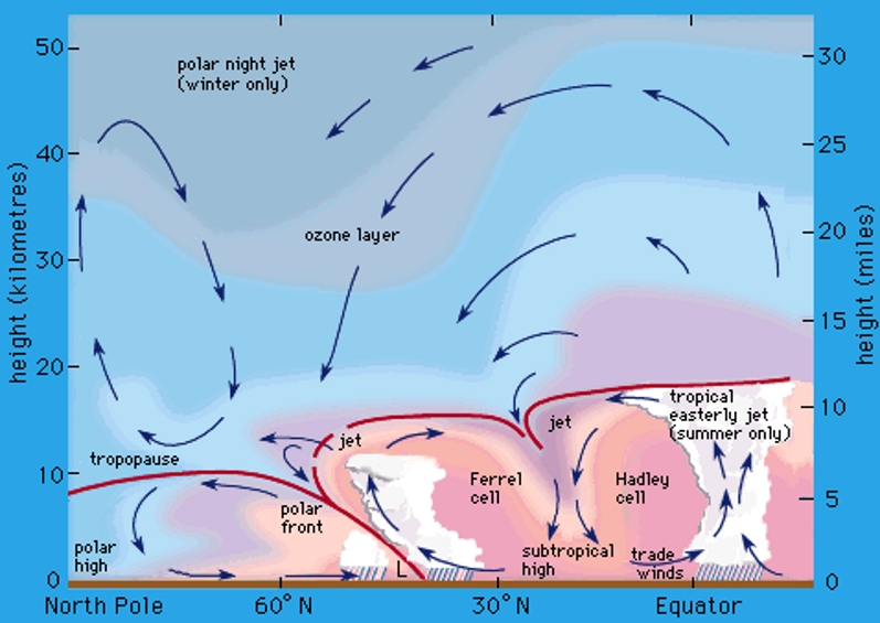 polar night jet streams positions atmosphere winter northpole